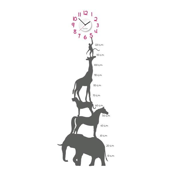 Hodiny se samolepkou Animal Chart