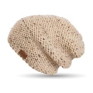 Béžová ručně pletená čepice DOKE Tweed