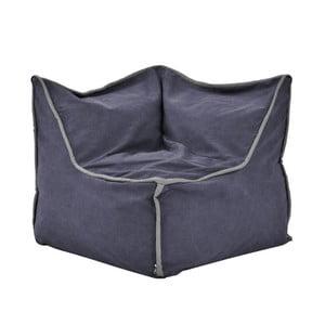 Modrý rohový modulový sedací vak se šedým lemem Poufomania Funky