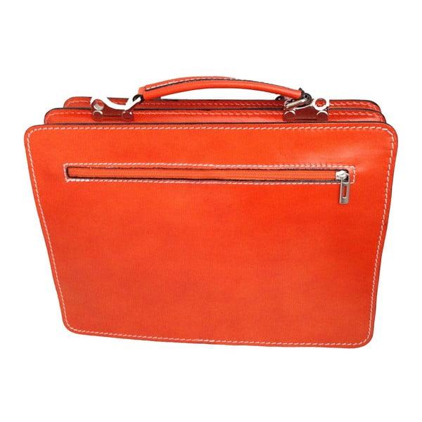 Oranžová kožená taška Chicca Borse Goie