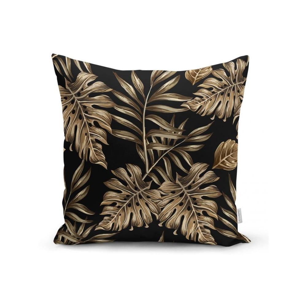 Povlak na polštář Minimalist Cushion Covers Golden Leafes With Black BG, 45 x 45 cm