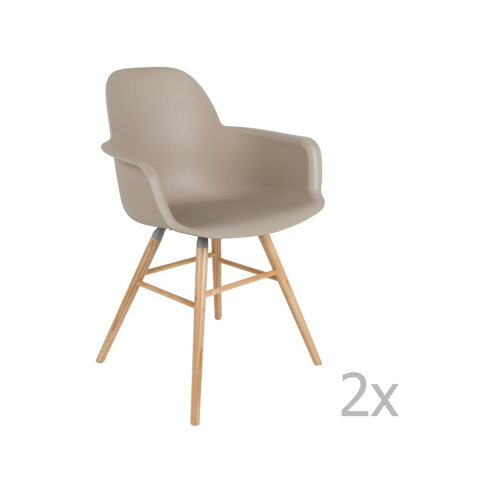 Sada 2 šedo-hnědých židlí s opěrkami Zuiver Albert Kuip