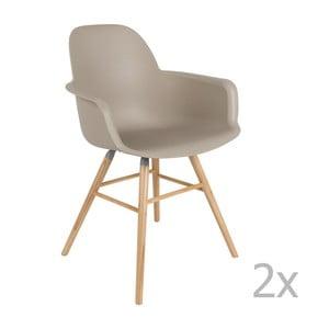Set 2 scaune cu cotieră Zuiver Albert Kuip, gri maro