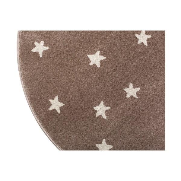 Hnědý kulatý koberec s hvězdami KICOTI Stars, ø 80 cm