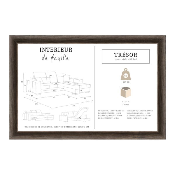 Krémová rozkládací sedačka INTERIEUR DE FAMILLE PARIS Tresor, pravý roh