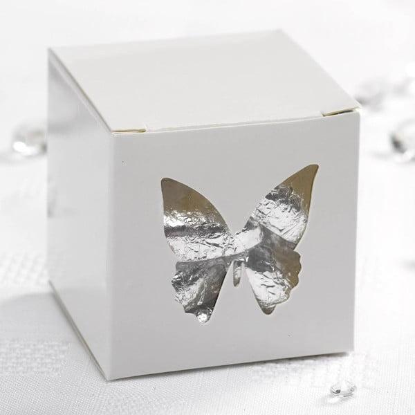 Set 10 cutii cadou pentru mărturii Neviti Butterfly, detalii argintii