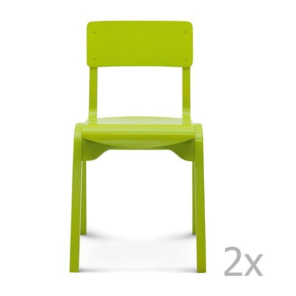 Sada 2 zelených dřevěných židlí Fameg Maren
