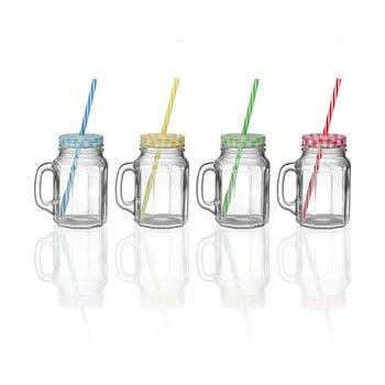 Set 4 borcane din sticlă cu capac și pai Versa Colorfull de la Versa
