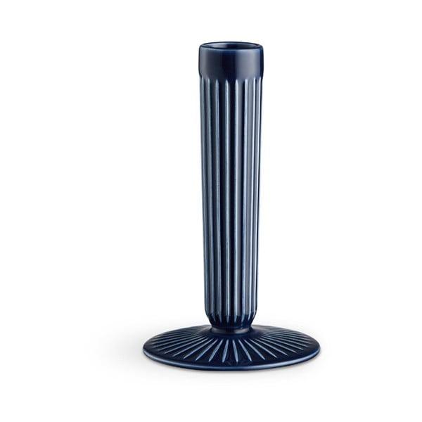 Tmavě modrý kameninový svícen Kähler Design Hammershoi, výška 16 cm