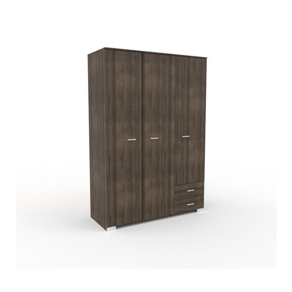 Třídveřová šatní skříň v dekoru ořechového dřeva se 2 zásuvkami Parisot Alix