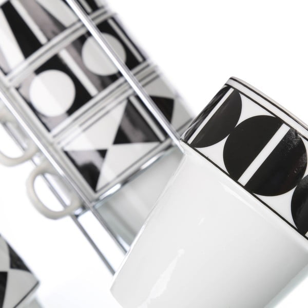 Sada 6 šálků se stojanem Black Porcelain