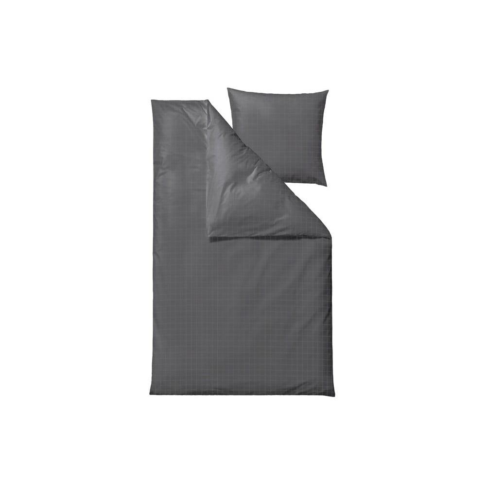 Tmavě šedé damaškové povlečení na jednolůžko Södahl Clear,140x220cm