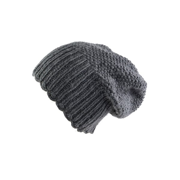 Vlněná čepice s vysokým nápletem Šedý Uni