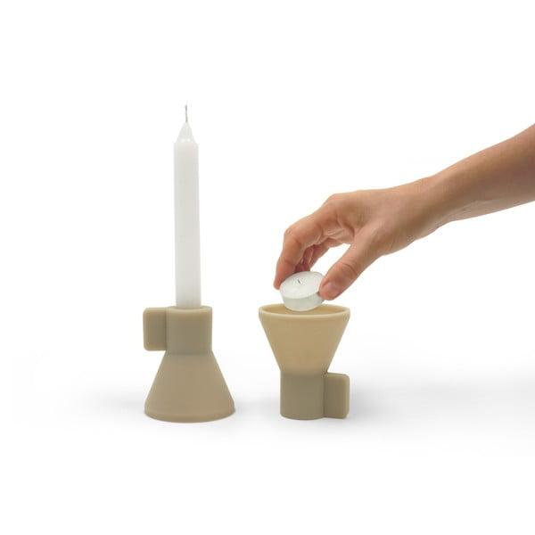 Stojan na svíčky Duo, béžový