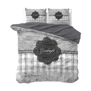 Lenjerie de pat din micropercal Sleeptime Goodnight, 200 x 220 cm, gri