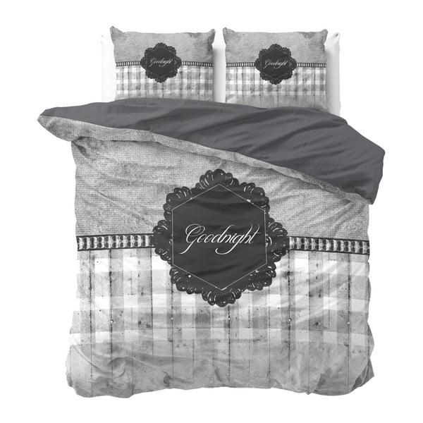 Šedé povlečení z mikroperkálu na dvoulůžko Sleeptime Goodnight,200x220cm