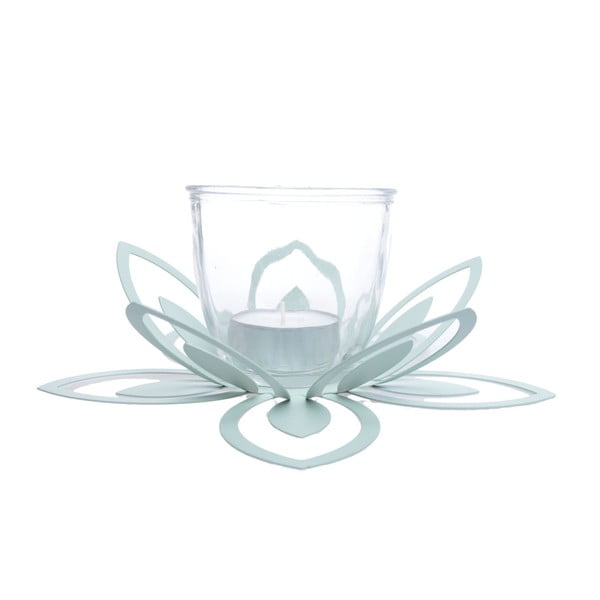 Zelený kovový svícen Ewax Blossom, ⌀26cm