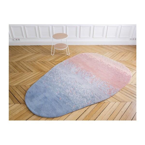 Růžovo-modrý koberec z čisté vlny HARTÔ Aube, 150 x 229 cm