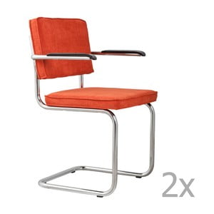 Sada 2 oranžových židlí s područkami Zuiver Ridge Rib