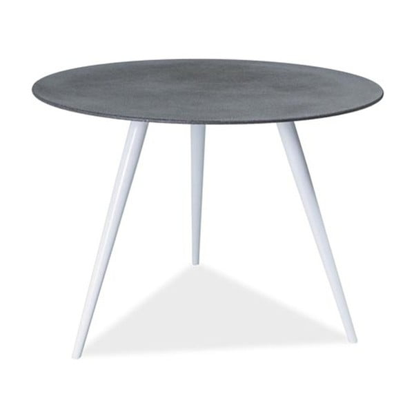 Černobílý stůl s deskou z tvrzeného skla Signal Evita, ⌀100cm