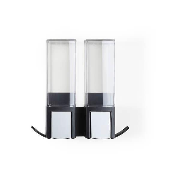 Dozator dublu pentru săpun lichid Compactor Clever Double, negru