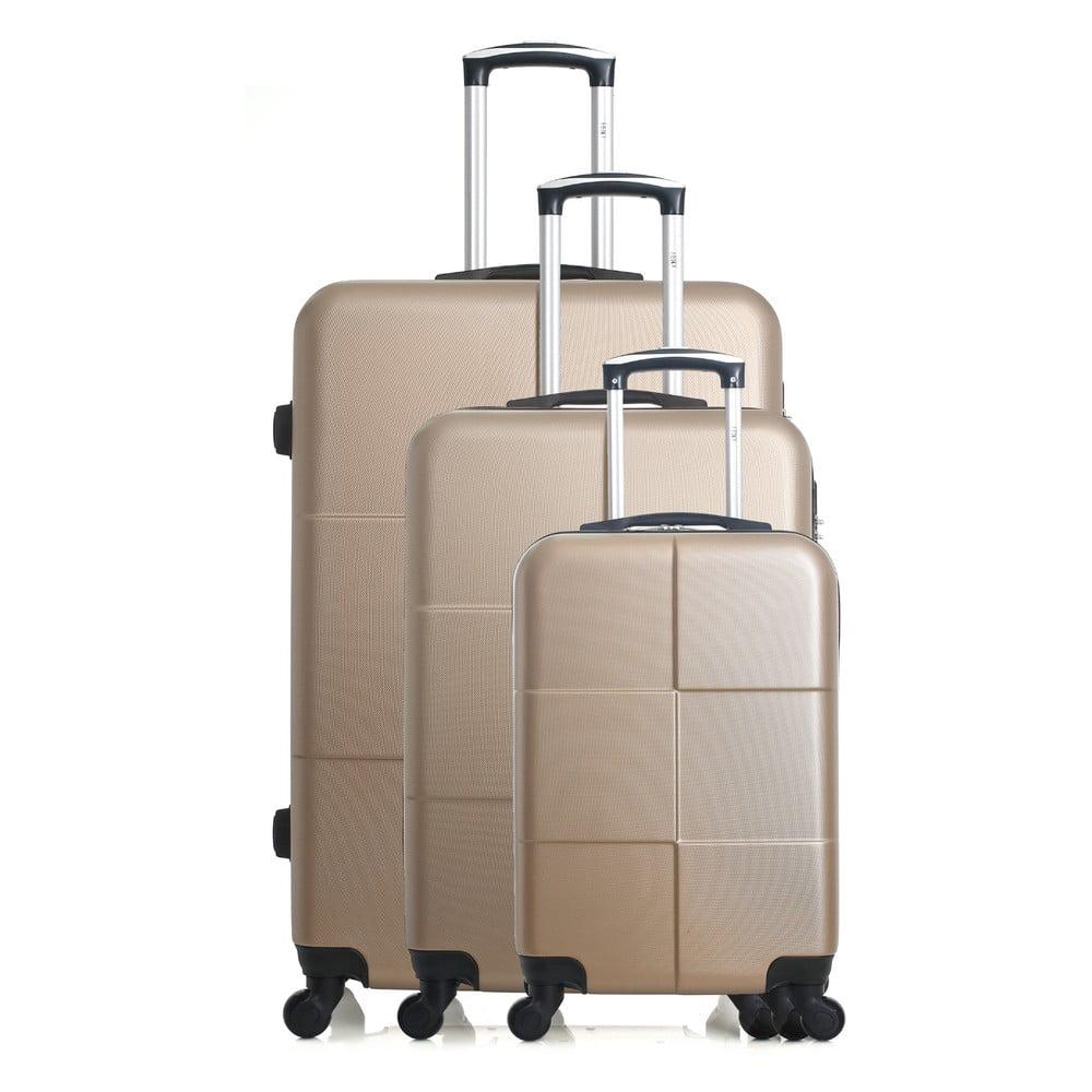 Sada 3 cestovních kufrů ve zlaté barvě na kolečkách Hero Coronado