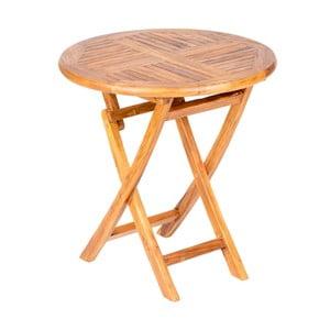 Skládací zahradní stůl s deskou z teakového dřeva Massive Home Shankar, ⌀75cm