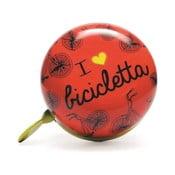 Zvonek na kolo I ♥ Bicicleta, červený