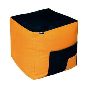 Sedací puf Lona, černý/oranžový