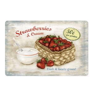 Retro plechová cedule Strawberries, 20x30 cm