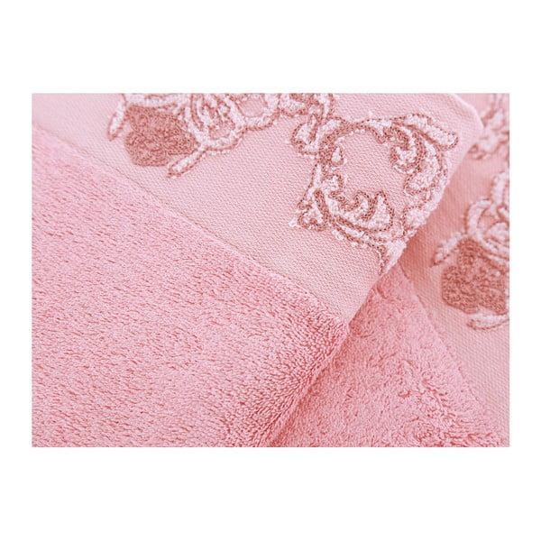 Sada 3 růžových ručníků z bambusového vlákna Tomurcuk