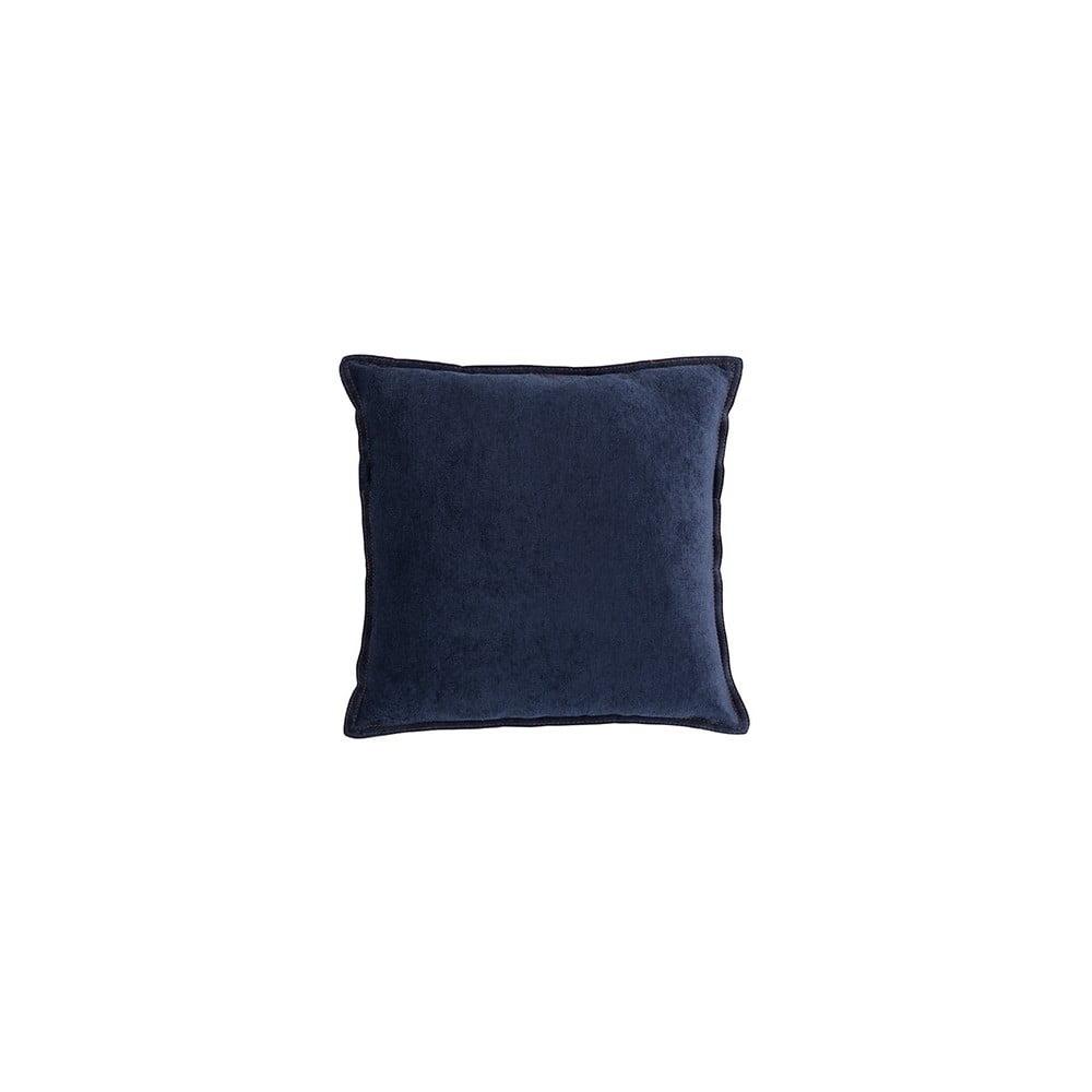 Tmavě modrý polštář White Label Justin, 45 x 45 cm