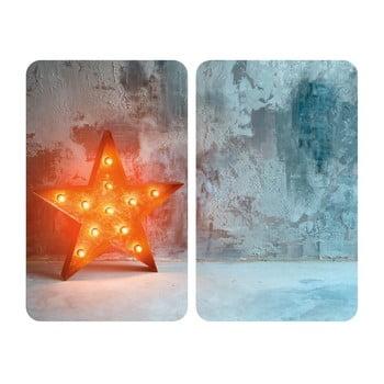 Set 2 suporturi din sticlă pentru protecția aragazului Wenko Star, 52 x 30 cm de la Wenko