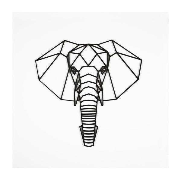 Černá nástěnná dekorace Elephant, 39 x 65 cm