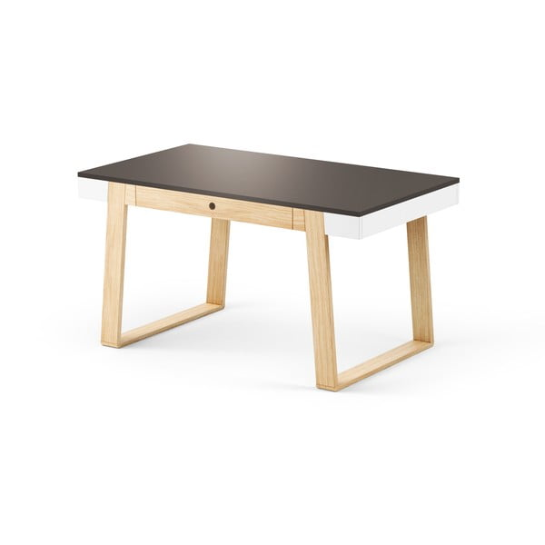 Jídelní stůl z dubového dřeva s černou deskou a bílými detaily Absynth Magh, 140x80cm