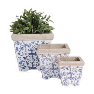 Sada 3 hranatých modrobílých keramických květináčů Esschert Design