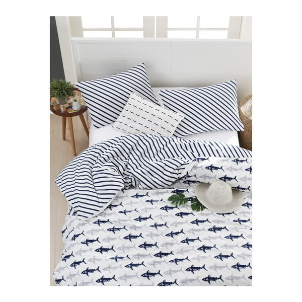 Lenjerie de pat din bumbac ranforce pentru pat de 1 persoană Mijolnir Shark Dark Blue & White, 140 x 200 cm