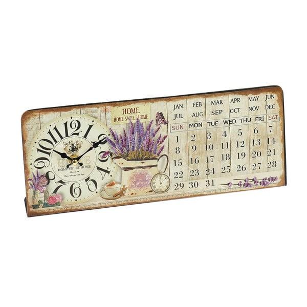 Nástěnné hodiny s kalendářem Lavender, 35x14 cm