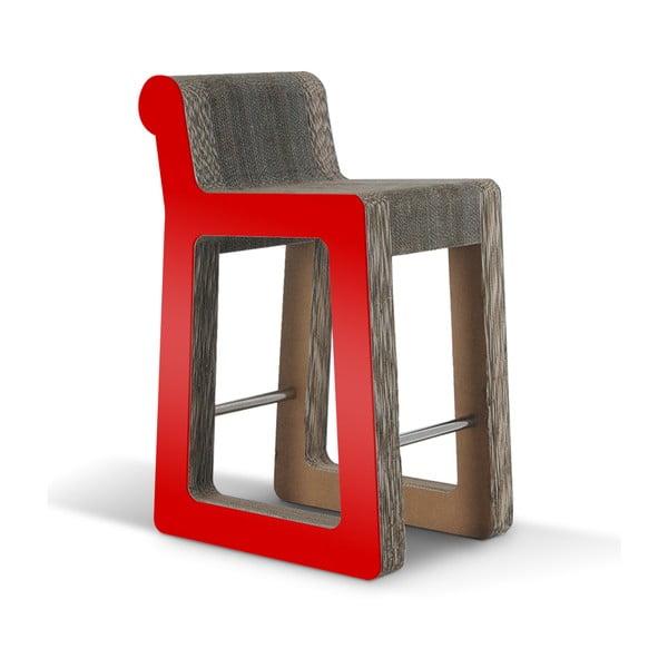 Barová kartonová židle Knob Stool Red