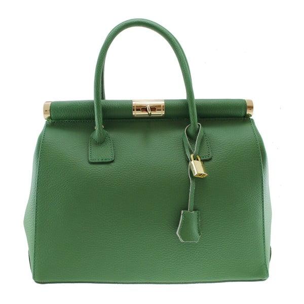 Geantă din piele Chicca Borse Blair, verde