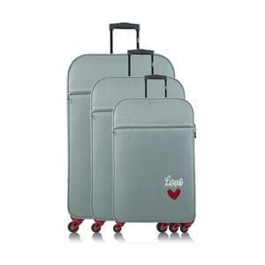 Sada 3 světle modrých cestovních kufrů na kolečkách INFINITIF Love