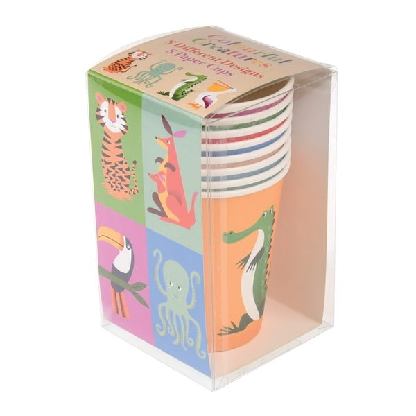 Set 8 pahare din hârtie Rex London Colourful Creatures