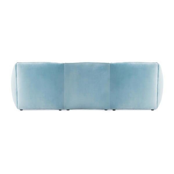 Světle modrá třímístná modulová pohovka s podnožkou Vivonita Velvet Cube