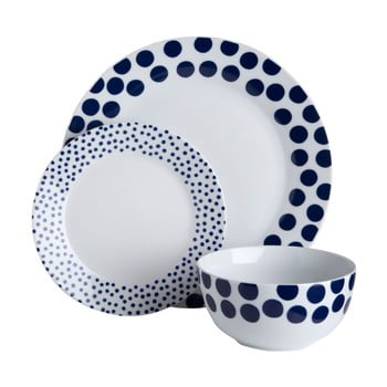 Set 12 piese de veselă Premier Housewares Blue Spots