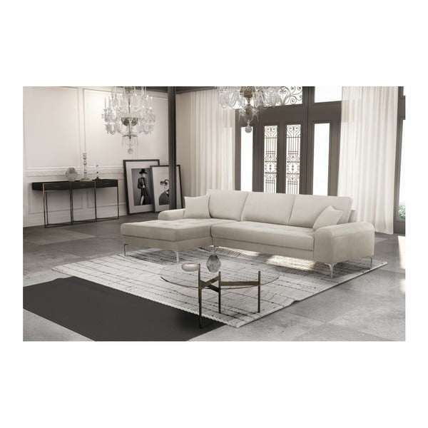 Set canapea crem cu șezut pe partea stângă, 4 scaune albastre, o saltea 160 x 200 cm Home Essentials