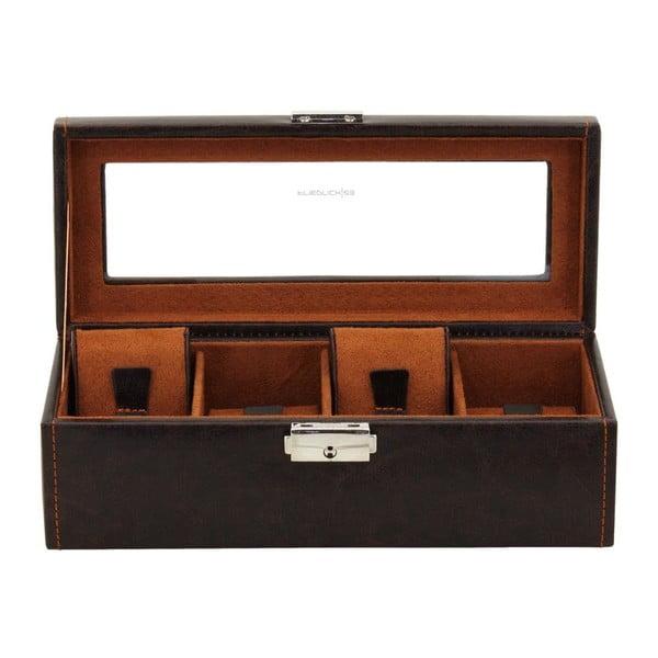 Hnědý box na čtvery hodinky Friedrich Lederwaren Bond