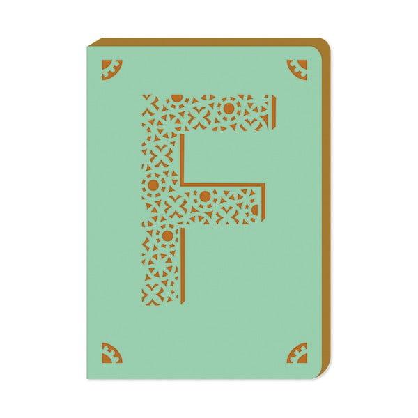 Linkovaný zápisník A6 s monogramem Portico Designs F, 160stránek