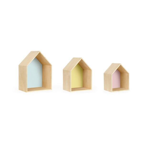 Sada 3 nástěnných poliček Houses, barevná