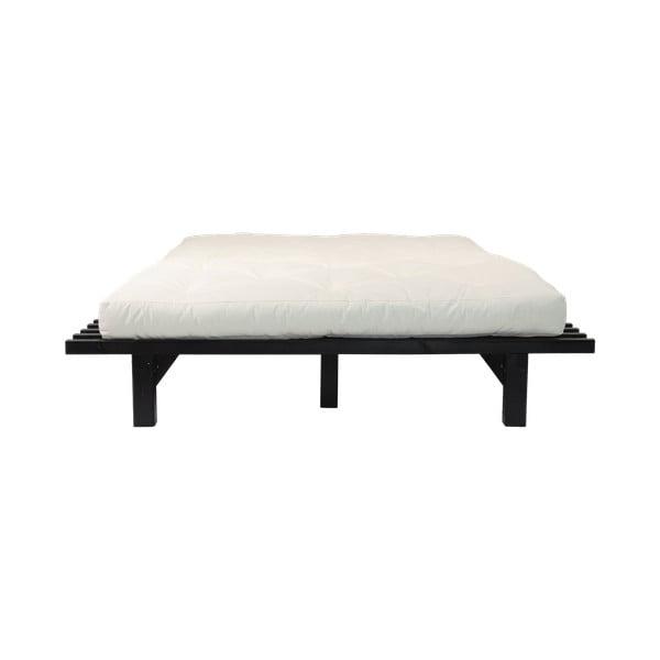 Łóżko dwuosobowe z drewna sosnowego z materacem Karup Design Blues Double Latex Black/Natural, 180x200 cm