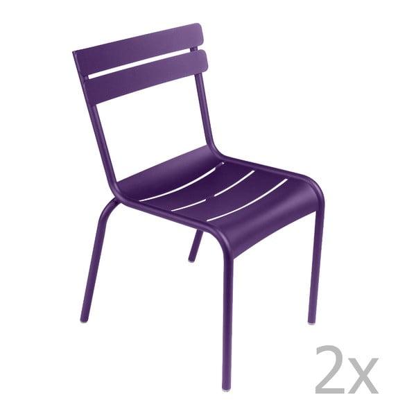 Sada 2 fialových židlí Fermob Luxembourg